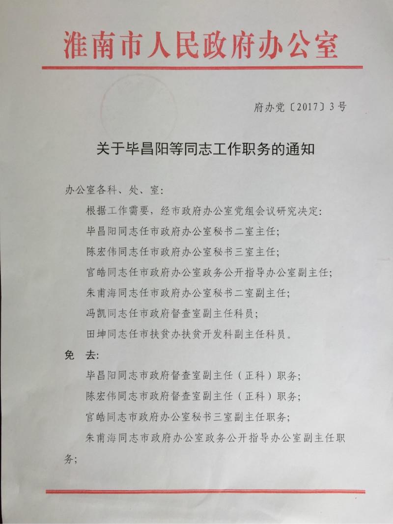 关于毕昌阳等同志工作职务的通知
